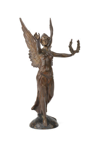 A bronze 'Angel of Victory' car mascot, by Franz Bergman, Austrian, 1920s,