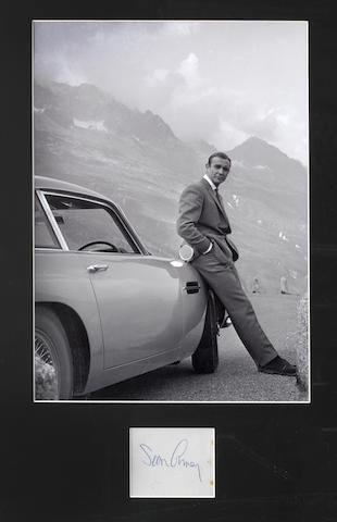 Bonhams A Photograph With Signature Of Sean Connery With The James Bond Goldfinger Aston Martin Db5