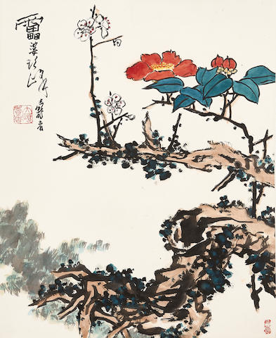 Attributed to Pan Tianshou (1897 - 1971) Camellia and Plum Blossoms