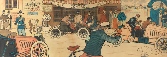 'A.C.F. Controle', a lithographic print after Harry Eliott (Charles Edmond Hermet, French 1882-1959), circa 1902,