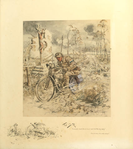'Dispatch Rider', a print after Snaffles (Charles Johnson Payne, British 1884-1967),