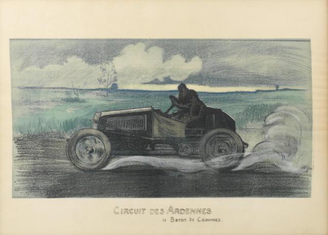 'Circuit des Ardennes - le Baron de Crawhez', a lithographic print after Emile Sevelinge, circa 1905,