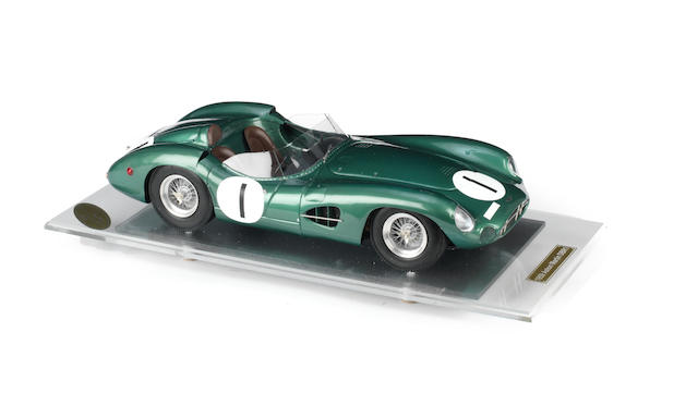 A fine 1:8 scale scratchbuilt model of the Aston Martin DBR1/300 by Javan Smith,