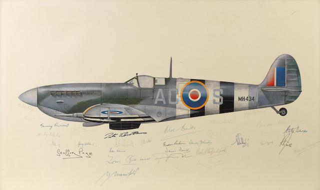 A signed print of a Supermarine Spitfire Mk IX,