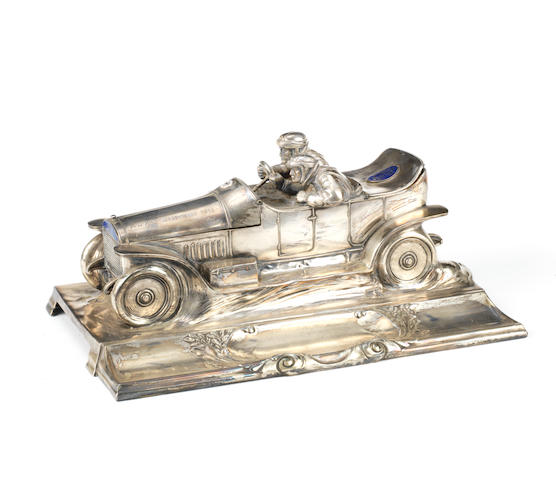 An 'ADAC Wagenfahrt 1913' motoring themed desk inkwell by WMF, German, presented as a motoring trophy,