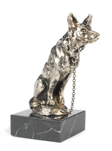 An 'Alsatian Dog' mascot by E.Ilinsky, French, 1920s,