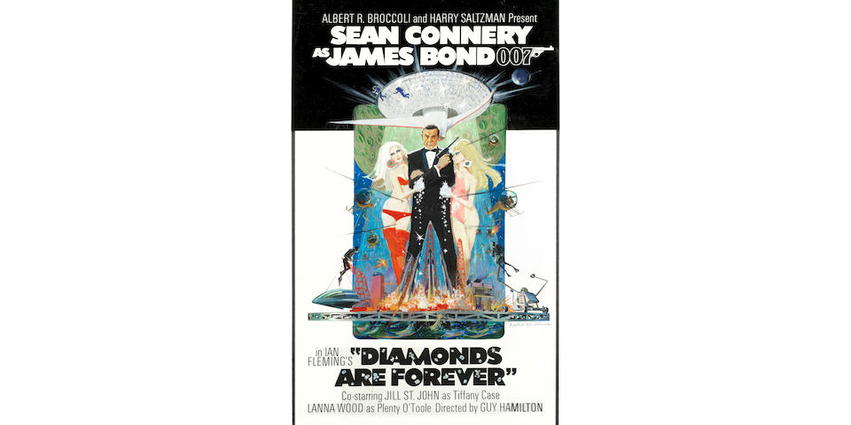 James Bond: A rare and original concept artwork for the stylish and iconic poster for  Diamonds Are Forever, Eon Productions / United Artists, 1971,
