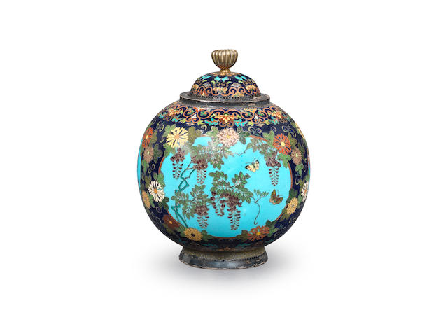 An early cloisonné-enamel spherical koro (incense burner) and en-suite cover By Namikawa Yasuyuki (1845-1927), Meiji era (1868-1912), late 19th/early 20th century (2)