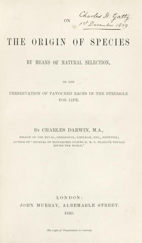 DARWIN (CHARLES) The Origin of Species by Means of Natural Selection, or the Preservation of Favoured Races in the Struggle for Life, FIRST EDITION, John Murray, 1859