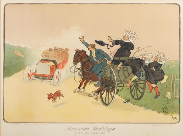 'Rencontre Diabolique' ('Diabolical Encounter'), a lithographic print after Walter Thor (German, 1870-1929), circa 1905,