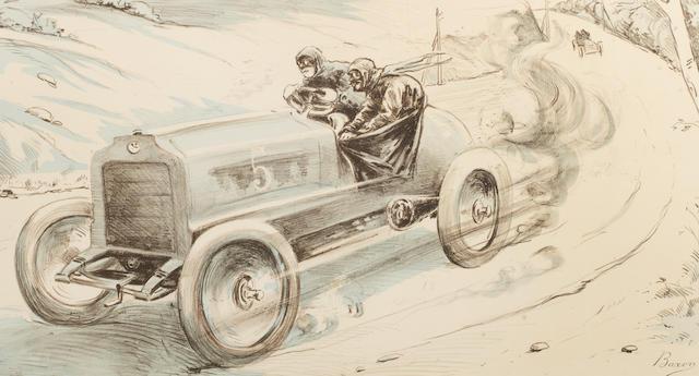 'La Coupe Gordon Bennett', a lithographic print after Braxon, circa 1904,