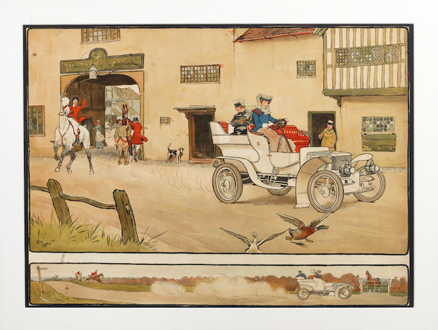 'Gone Away', a lithographic print after Cecil Aldin,