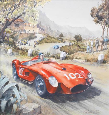 Michael Wright (British 1935-), 'Mike Hawthorn - 1958 Targa Florio',