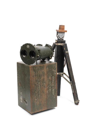 A cased British Royal Navy 10 x 70 binocular gunsight by Ross of London, 1946,