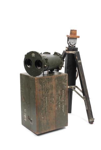 A cased British Royal Navy 10 x 70 binocular gunsight by Ross of London, 1946,