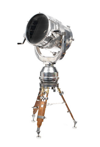 A large tripod-mounted IBAK searchlight with Aldis signal, German, 1988,