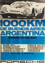 Three framed Porsche 1000Km race posters,   ((3))