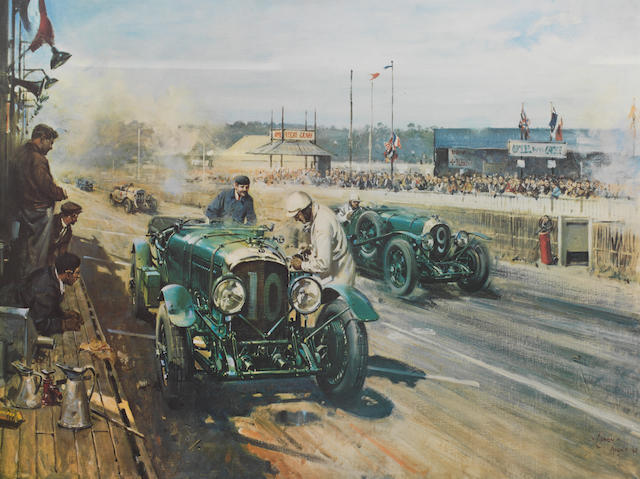 Two framed Vintage Bentley prints after Terence Cuneo,   ((2))