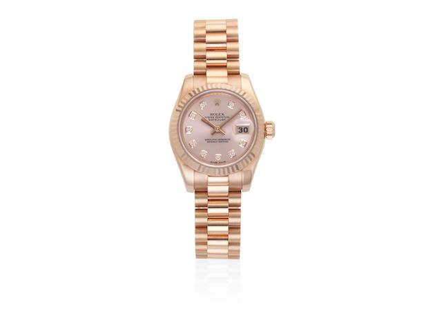 Rolex. A lady's 18K rose gold diamond set automatic calendar bracelet watch  Datejust, Ref: 179175F, Recent