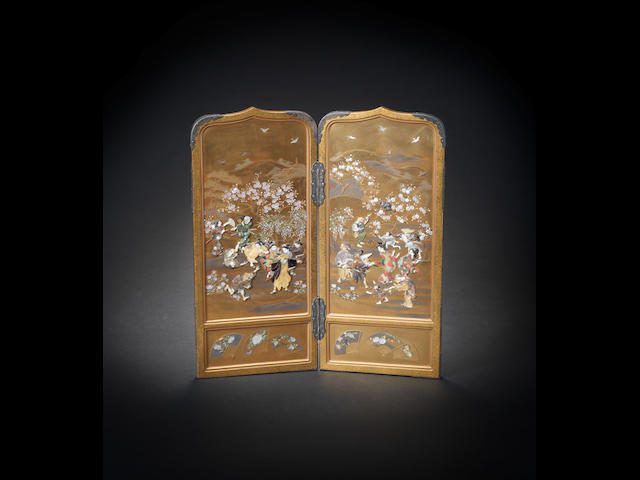A gold-lacquer and Shibayama style two-panel folding screen  By Masaaki, Meiji era (1868-1912), late 19th/early 20th century