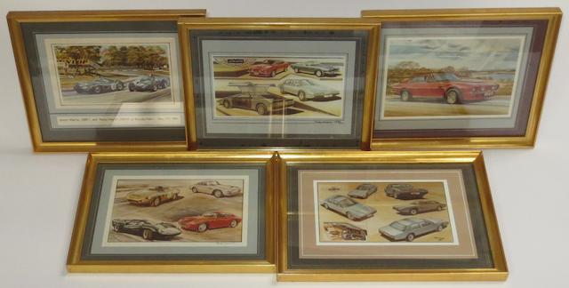 Five framed photographs of John Evans' Aston Martin and Lagonda artworks,   ((6))