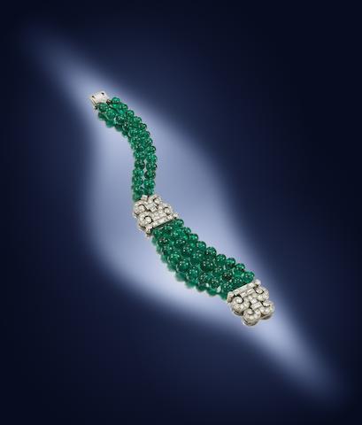 An art deco emerald and diamond bracelet, by Cartier,