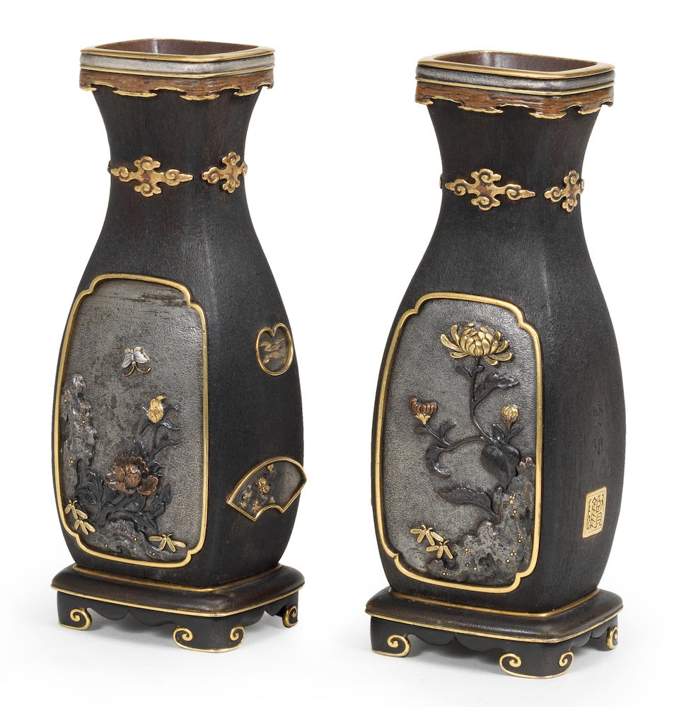 A fine and unusual small pair of inlaid four-sided wood vases Attributed to Tsukahara Katao, Meiji era (1868-1912), late 19th/early 20th century (2)