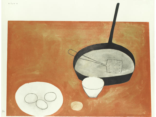 William Scott R.A. (British, 1913-1989) Still Life with Frying Pan and Eggs Screenprint in colours, 1973, on wove, signed, dated and numbered 17/250, printed by Kelpra Studio, London, published by CCA Galleries, Tilford, the full sheet, 672 x 883mm (26 1/2 x 34 3/4in)(SH)