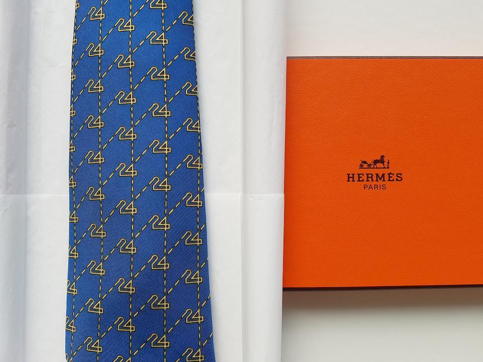 A unique collection of 47 Le Mans Ties by Hermès