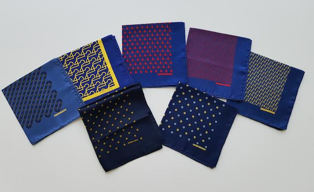 A collection of 7 Le Mans gavroche pocket squares by Hermès