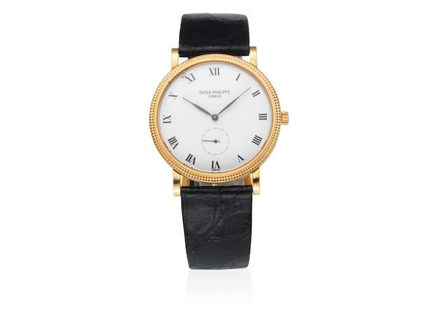 Patek Philippe. An 18K gold manual wind wristwatch Calatrava, Ref: 3919, Sold 30th June 1994