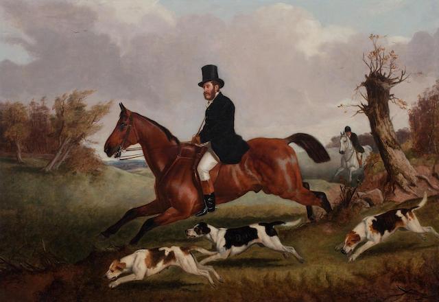 John Arnold Wheeler (British, 1821-1903) The Duke of Beaufort riding to hounds