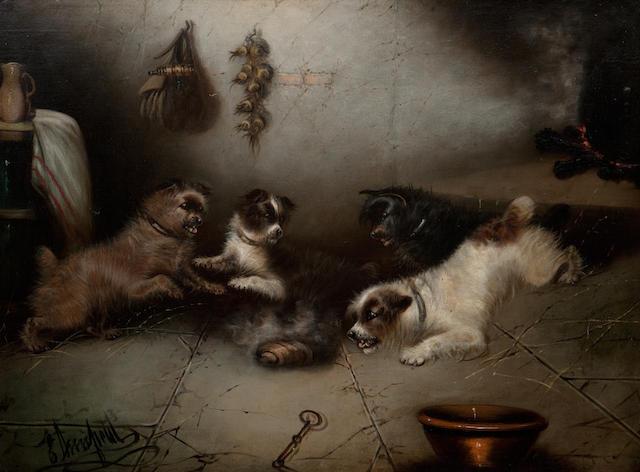 Edward Armfield (British, 1817-1896) Terrier ratting in a barn each: 70 x 88cm (27 9/16 x 34 5/8in)  (a pair (2))
