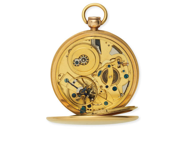 Breguet. A fine and rare continental gold key wind open face repeating atoc pocket watch Sold 2nd July 1806