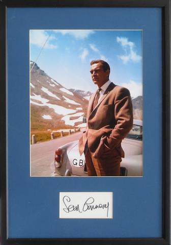 A framed James Bond 'Goldfinger' photograph with signature of Sean Connery,