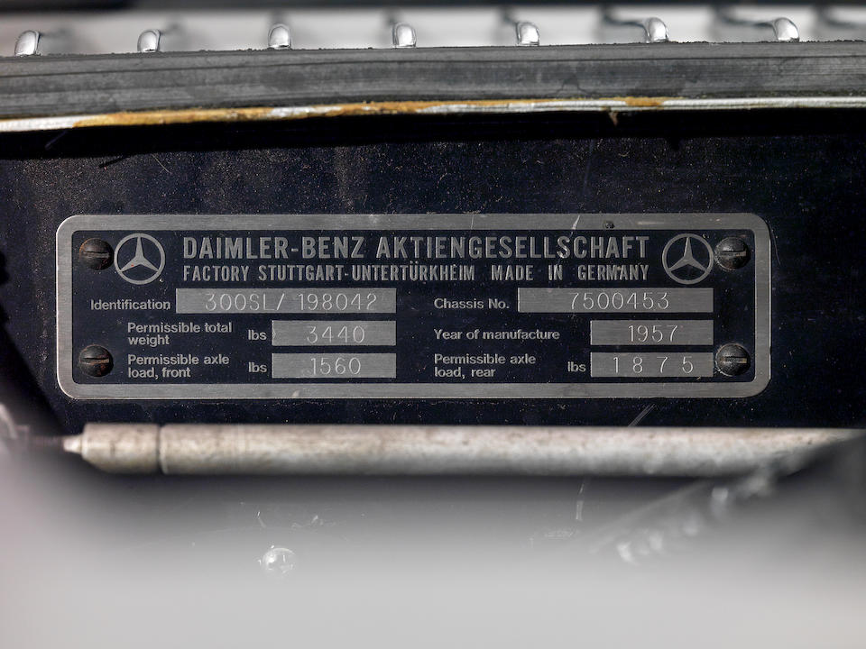 1957 Mercedes-Benz 300 SL Roadster  Chassis no. 198-042-7500453