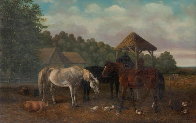 Manner of John Frederick Herring, Jnr. Horses and other animals in a farm yard