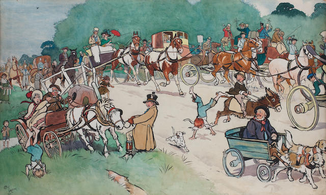 Cecil Charles Windsor Aldin, RBA (British, 1870-1935) Bluemarket Races - On the Road