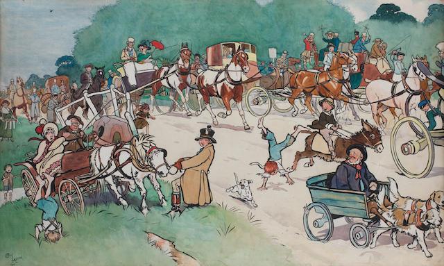 Cecil Charles Windsor Aldin, RBA (British, 1870-1935) Bluemarket Races - On the Road