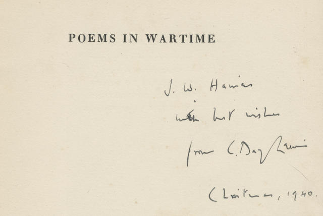 LEWIS (CECIL DAY) Poems in Wartime, 8vo; and 38 others, ALL INSCRIBED BY THE AUTHORS, including works by Walter de la Mare (3), Andrew Young (2), John Gawsworth, Gordon Bottomley, E.H.W. Meyerstein (11, including his first book, many with autograph letters loosely inserted), John Moore, and others (52)