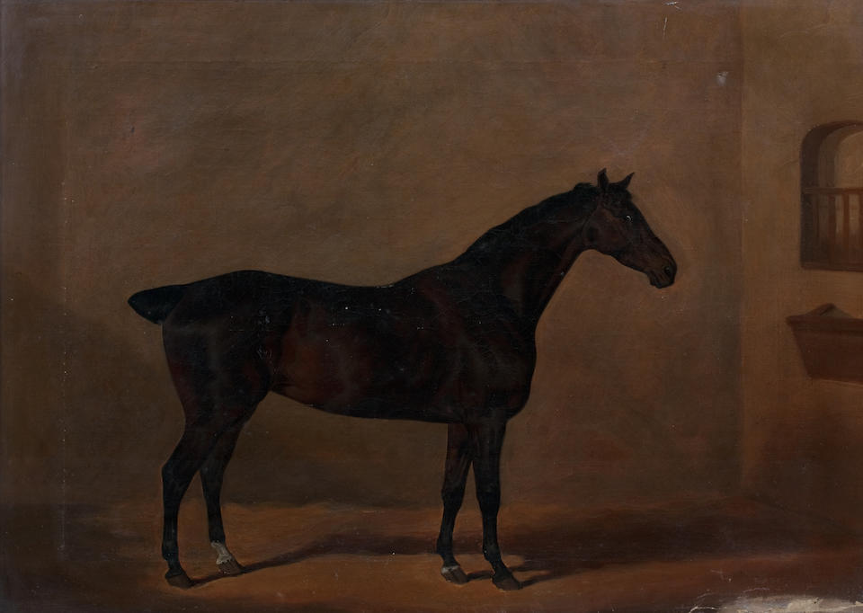 David Dalby of York (1794-1836) Portrait of a chestnut horse in a stable with an initialled horse blanket G F H (together with a companion of a Dark Bay horse in a stable, signed Dalby York and dated 1817 (lower left) (2))