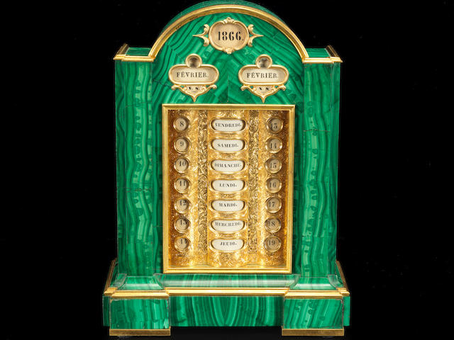A gilt-bronze mounted malachite perpetual calendarProbably Peterhof Imperial Lapidary Works with mounts by Nichols and Plinke, circa 1855