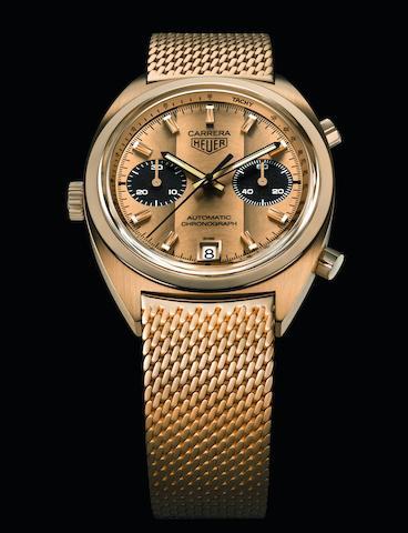 TAG Heuer. A unique 18K gold automatic calendar chronograph bracelet watch  Carrera Gold-RP-R, Ref: CBH2240.BG0673, 2017