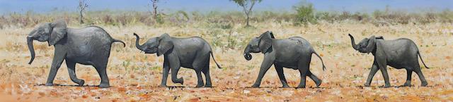 Pip McGarry (British, born 1955) Elephants
