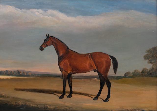 John Ferneley, Snr. (British, 1782-1860) Portrait of a Bay Horse in Melton Mowbray Landscape, 1835