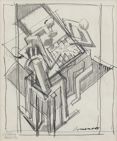 William Roberts R.A. (British, 1895-1980) Dominoes (Study for Jeu) 19 x 16 cm. (7 1/2 x 6 1/4 in.) (Executed 1914-1915)