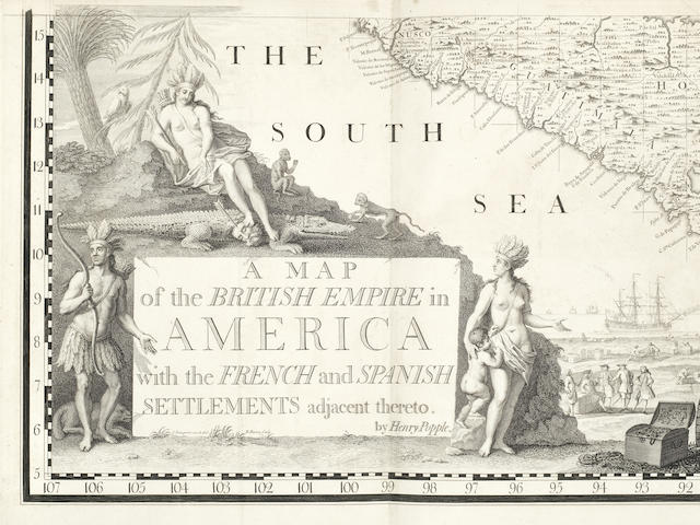 POPPLE (HENRY) A Map of the British Empire in America, with the French and Spanish Settlements Adjacent Thereto, 1733 [but c.1735]