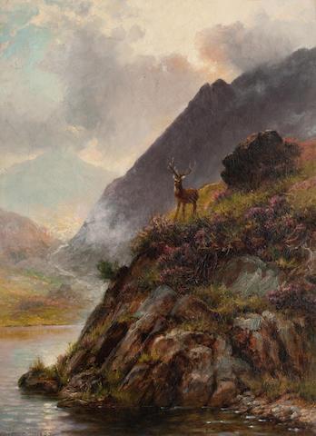 Charles Stuart, FSA (British, active 1861-1904) Stag in a Highland landscape