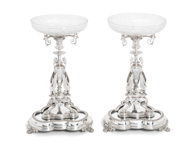 A pair of Victorian silver centrepieces and stands by Elkington & Co, Birmingham 1868