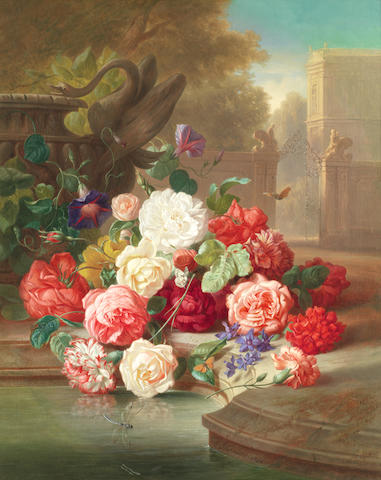 Josef Schuster (Austrian, 1812-1890) Still life of roses in a country house garden